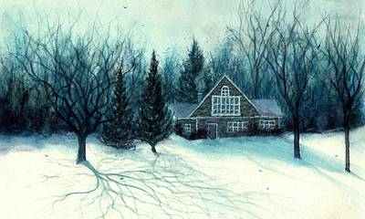 Winter Blues - Stone Chalet Cabin Art Print by Janine Riley