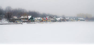 Winter - Boathouse Row - Schuylkill River Print by Bill Cannon