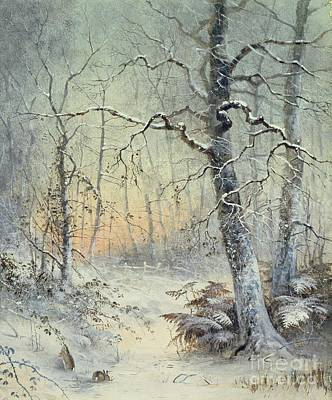 Rabbit Painting - Winter Breakfast by Joseph Farquharson