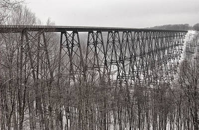 Kinzua Photograph - Winter Bridge by Wade Aiken