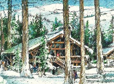Drawing - Winter Cabin by Andrew Drozdowicz
