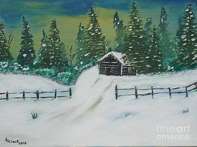 Painting - Winter Cabin by Jimmy Clark