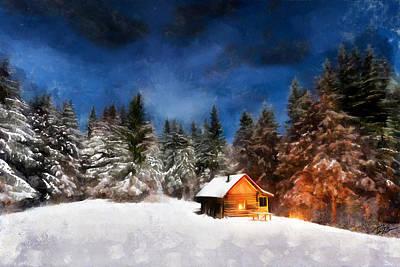 Snow Covered Trees Digital Art - Winter Cabin by Ryan Burton