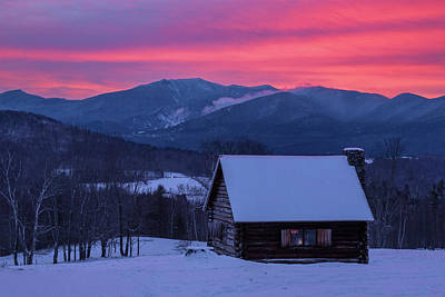 Photograph - Winter Cabin Sunrise by Chris Whiton