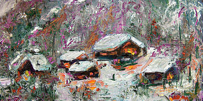 Painting - Winter Cabins By Ginette by Ginette Callaway