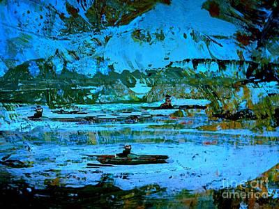 Winter Canoes Art Print