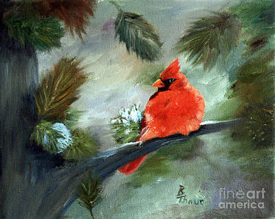 Painting - Winter Cardinal by Brenda Thour