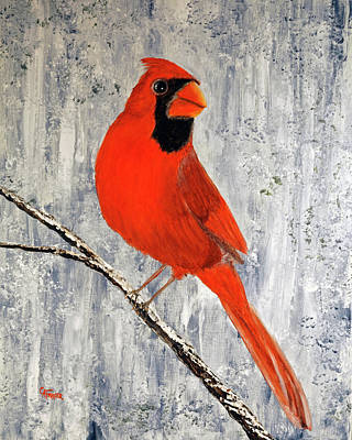 Painting - Winter Cardinal by Chris Fraser