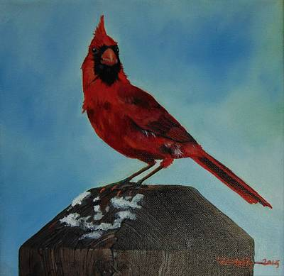 Painting - Winter Cardinal by Dana Newman