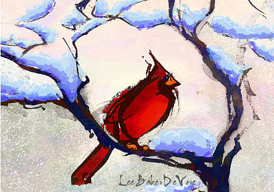 Trees In Snow Mixed Media - Winter Cardinal by Lee Baker DeVore