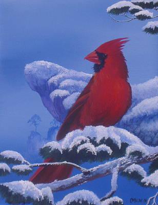 Winter Cardinal Art Print by Michael Allen
