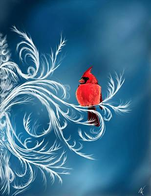 Digital Art - Winter Cardinal by Norman Klein