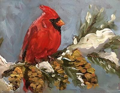 Painting - Winter Cardinal by Susan Elizabeth Jones