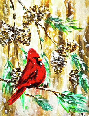 Painting - Winter Cardinal by Tina LeCour