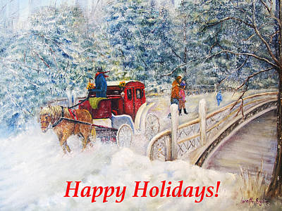 Painting - Winter Carriage In Central Park Holiday Card by Loretta Luglio