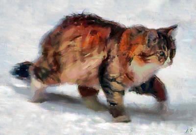 Winter Cat Art Print by Sergey Lukashin