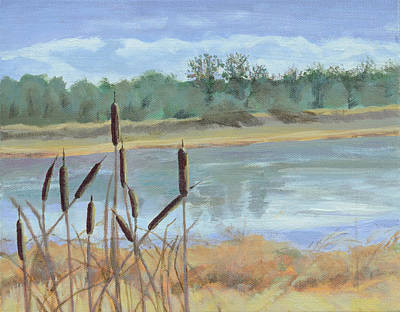 Wa Painting - Winter Cattails by Mary Chant