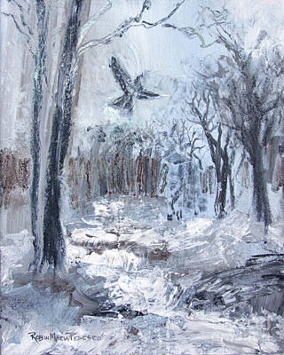 Cawing Painting - Winter Caws by Robin Maria Pedrero
