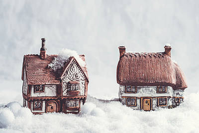 Winter Ceramic Cottages In Snow Art Print