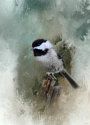 Winter Chickadee Art Print by Jai Johnson