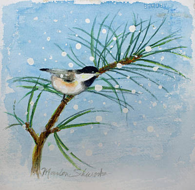 Painting - Winter Chickadee by Marlene Schwartz Massey