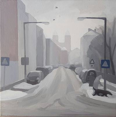 Painting - Winter City. View Of The Forsthofstrasse by Lena Krasotina