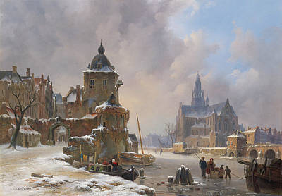 Winter Cityscape With Frozen River Art Print by Bartholomeus van Hove