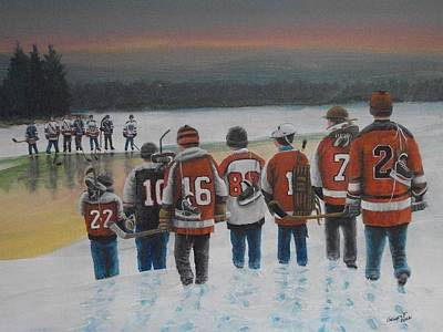 Pond Hockey Painting - Winter Classic 2012 by Ron  Genest