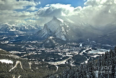 Photograph - Winter Clouds Over Mt. Rundle by Adam Jewell