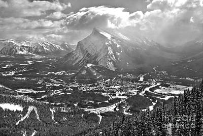 Photograph - Winter Clouds Over Mt. Rundle Black And White by Adam Jewell
