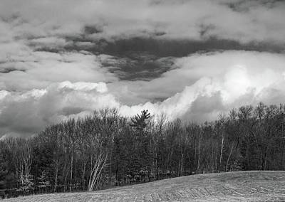 Photograph - Winter Clouds Over Tower Hill Bnw by Michael Saunders