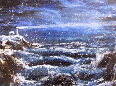 Snowy Night Painting - Winter Coastal Storm by Jack Skinner