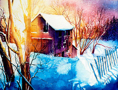 Barn Poster Painting - Winter Color by Hanne Lore Koehler