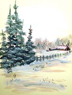 Painting - Winter Comes At The Farm  by Dorothy Maier