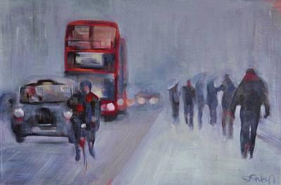 London Painting - Winter Commute by Stephanie Fonteyn