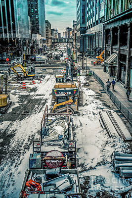Winter Construction On Nicollet Mall Minneapolis Original by Chellie Bock