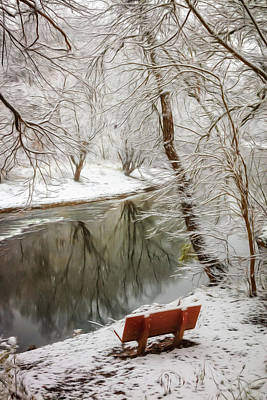 Photograph - Winter Contemplation Abstract Painting by Debra and Dave Vanderlaan