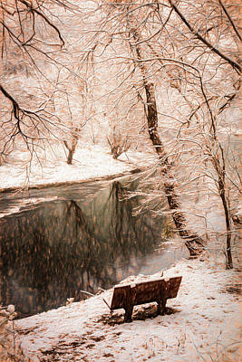 Photograph - Winter Contemplation Sepia Tones Painting by Debra and Dave Vanderlaan