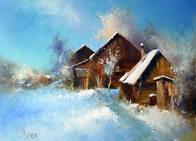 Winter Scene For Sale Painting - Winter Cortyard by Igor Medvedev