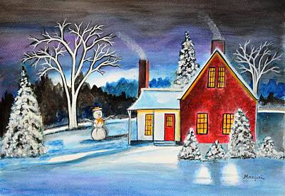 Snowscape Painting - Winter Cottage by Manjiri Kanvinde