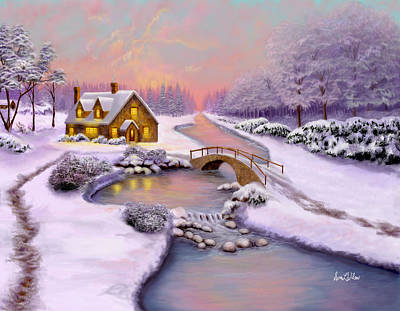 Winter Cottage Art Print by Sena Wilson