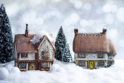 Winter Cottages Art Print