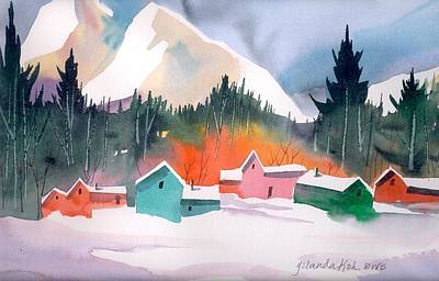 Winter Cottages Art Print