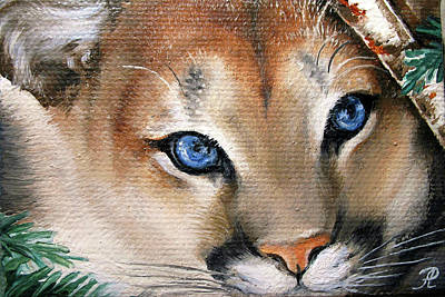 Winter Cougar Art Print by Larissa Prince