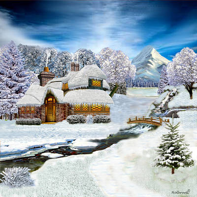 Winter Country Cottage Art Print