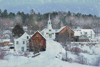 Photograph - Winter Country Snowfall - Waits River, Vermont by Joann Vitali