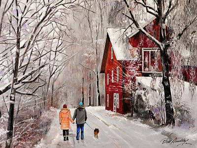 Winter Country Walk Art Print by Bill Dunkley