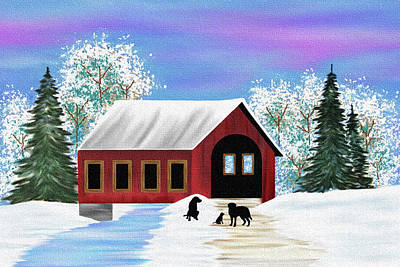 Labrador Retriever Digital Art - Winter Covered Bridge Scene - Black Labradors by Black Dog Art Judy Burrows