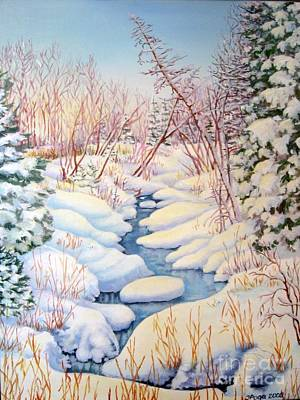 Painting - Winter Creek 1  by Inese Poga