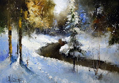 Winter Scene For Sale Painting - Winter Creek by Igor Medvedev
